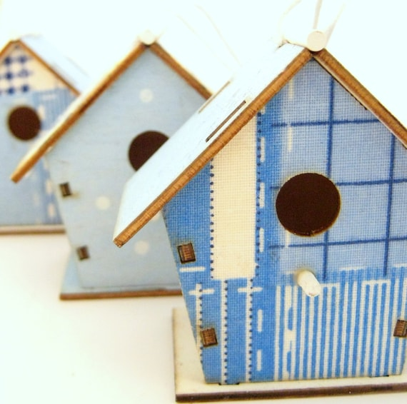 3 Wooden Bird House Ornaments - Home Decor - Spring - Summer