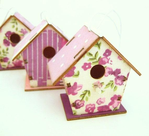 3 Wooden Bird House Ornaments