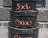 Primitive Round Paper Mache' Halloween Boxes Spells  Potions  Charms
