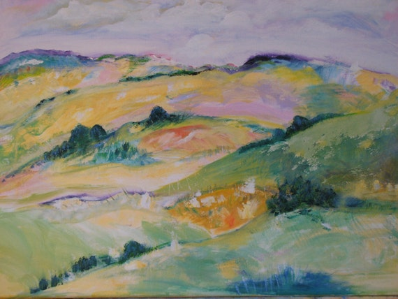 FALL SALE/FREE SHIPPING 16 X 20 ORIGINAL ACRYLIC/OIL The Hills was 150 now 100