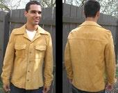 MIDNIGHT COWBOY: Vintage 1970s Genuine Suede Leather Shirt - Jacket, Urban Western-Wear, Honey Gold, Wide Collar / Medium, Large