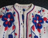 Fare Thee Well... COSMIC CHARLIE: Vintage Bonnie Wong Cardigan Sweater, Button-Front, Thick Wool, Embroidered Royal Blue & Infrared Flowers