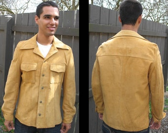 MIDNIGHT COWBOY: Vintage 1970s Genuine Suede Leather Shirt - Jacket, Urban Western-Wear, Maize Honey Gold, Wide Collar // Size Medium, Large