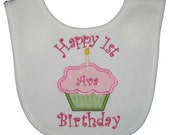 Custom Embroidered Happy 1st Birthday Pink Polka Dots and Green Minky Cupcake Bib with Curlz Font