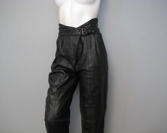 vintage leather pants . 80s avant garde high waisted . sz 4/6