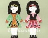 IRISH STEP DANCER Girl Paper Doll Card Topper (Set of 2)