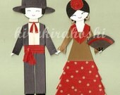 SPANISH FLAMENCO DANCER Boy and Girl Paper Doll Card Topper (Set of 2)