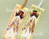 JAPANESE ORIGAMI GEISHA Ningyo Paper Doll Handmade Bookmarks Tags (Set of 2)