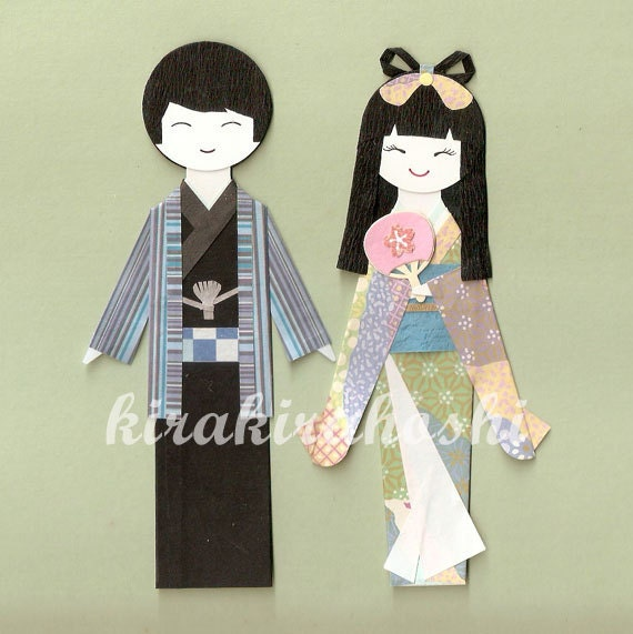 JAPANESE ORIENTAL Man and Women Couple in KIMONO Origami Paper Doll Card Topper (Set of 2)