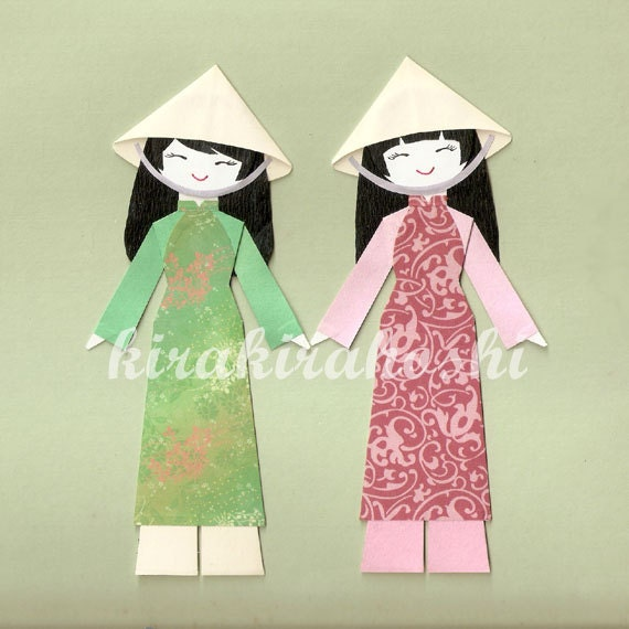 Vietnamese Girl In Ao Dai Paper Doll Card Topper Set Of 2