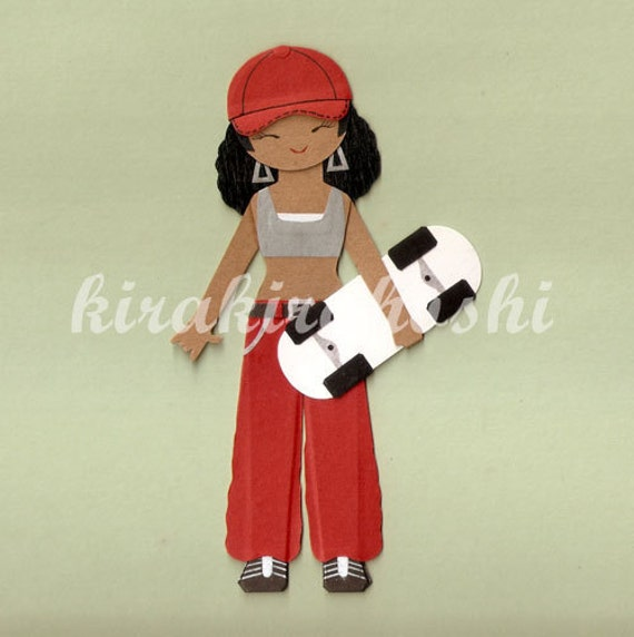 African American HIP HOP Girl SKATER With Skateboard Paper Doll Card Topper