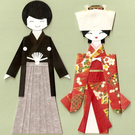 Japanese Wedding Bride And Groom Origami Paper Doll Card