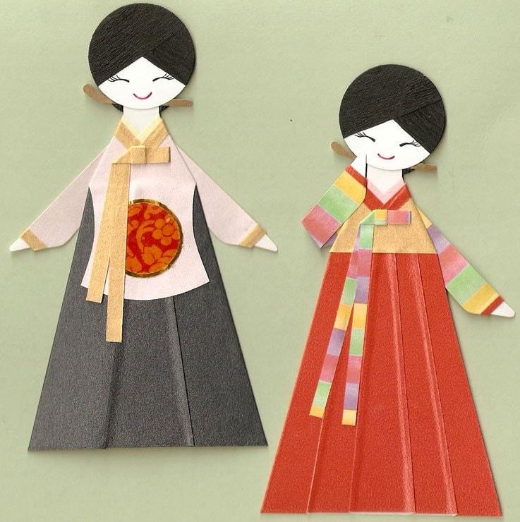 Korean Oriental Girl In Hanbok And Dangui Paper Doll Card