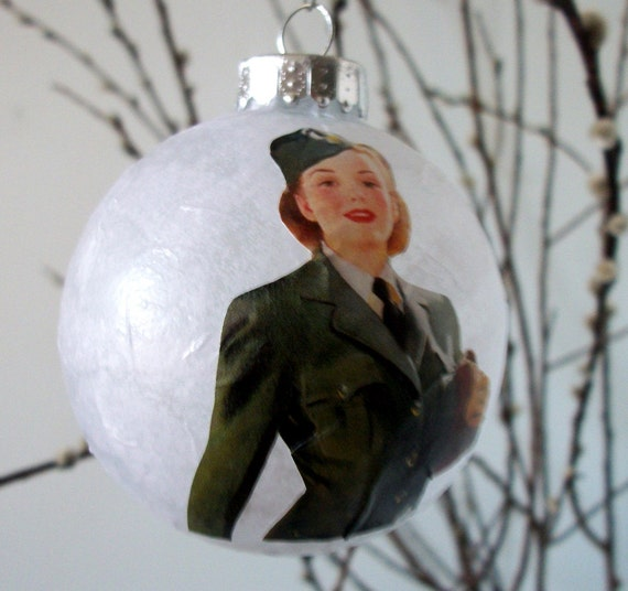 In Uniform handmade upcycled tree ornament