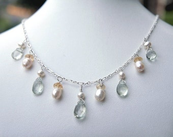 Morning Dew - Prasiolite, Citrine, and Pearl Necklace