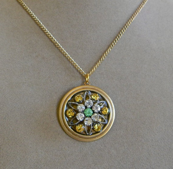 Recycled Pale Green and Citrine Yellow Vintage Piece Necklace