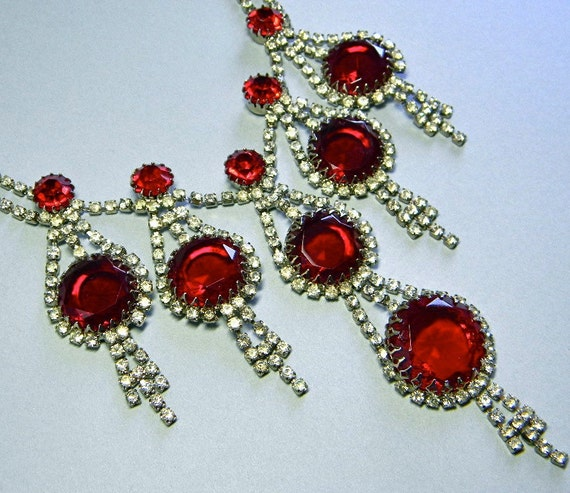 Huge Vintage Drippy Red Rhinestone Diva Necklace
