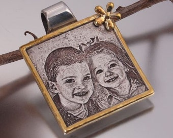 Gold Frame Photo Engraved Square Pendant