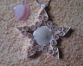 Sand Dollar Ornament: 'Sandcastle' Mini Quilled Popham Beach Maine Sand Dollar Star Ornament gift packaged