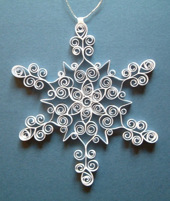 Christmas Ornament: 'Icy Elegance' is a gift packaged white quilled snowflake ornament Christmas decoration tree ornament winter decoration