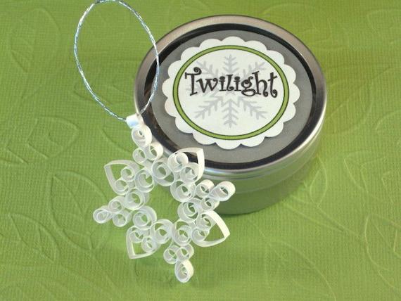 Quilled Snowflake Ornament: 'Twilight' petite quilled snowflake ornament gift packaged Christmas ornament mini tree ornament winter decor