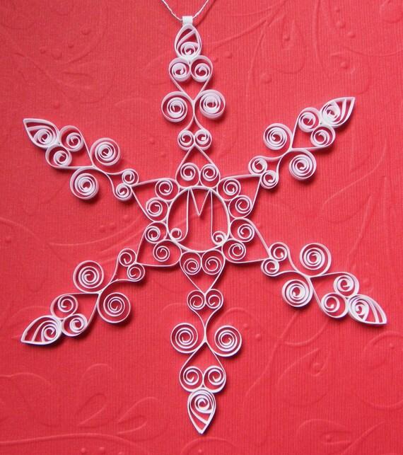 Personalizzato Monogram ornamento M personalizzato quilled ornamento fiocco di neve regalo confezionato albero decorazione ornamento inverno