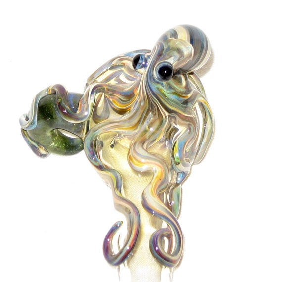 Octopus Medium Fumed Color Changing Hand Blown Glass Reversible Spoon