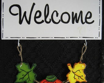 Welcome Outdoor Welcome Sign with 3 sets of Interchangeable Seasonal 3 piece Charms Hand Painted Home Decor Wall Art