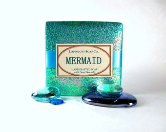 Mermaid Soap, Cold Process Soap, Bar Soap, Handmade Soap, Phthalate Free, Women's Soap, Dead Sea Salt Soap, Palm Oil Free Soap, Gift for Her