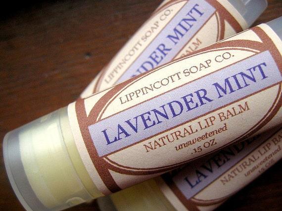 Lavender Mint Lip Balm - All Natural Lip Balm - Lavender Essential Oil - Peppermint Essential Oil