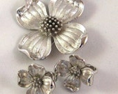 Rites of Spring Silver Dogwood Blossom Brooch and Earring Set by Trifari
