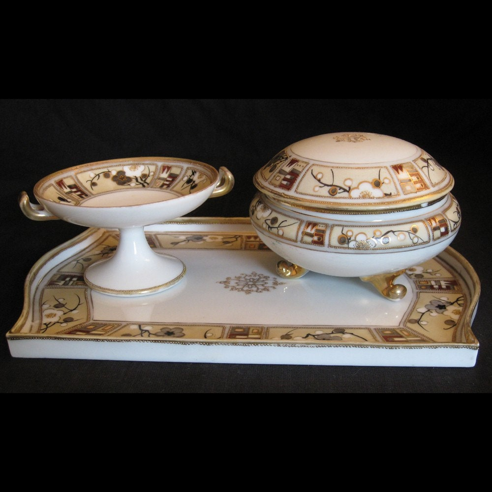 Vintage Art Deco Nippon China Dresser Tray And Set With Gold