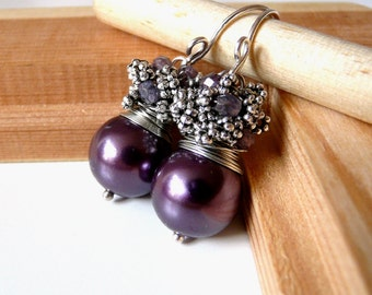 New The Adelynn - sweet earrings with  with eggplant color shell pearl