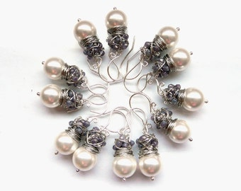 Bridal earrings, wedding earrings, Set of six pairs of silver pearl lavender earrings, wire wrapped bridal jewelry