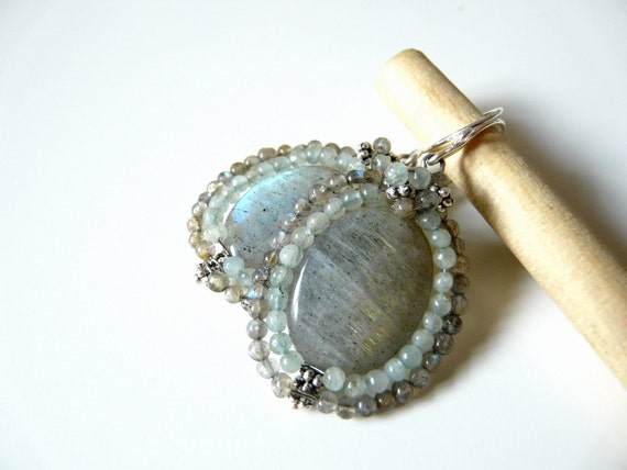 FREE shipping - The Belle - earrings with beautiful labradorite and aquamarine stone
