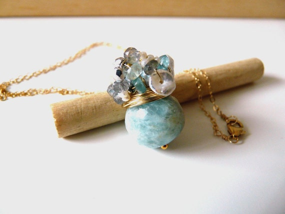 Special listing for S. - The Valarie - fresh necklace with lovely faceted aquamarine stone