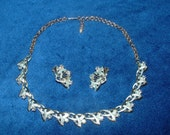 Vintage Necklace earrings silver tone blue Aurora Borealis faceted rhinestone settings. Prom wedding costume jewelry