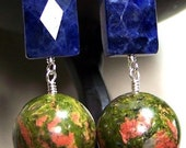 Geometrically Yours - Unakite and Sodalite with Sterling Silver earrings