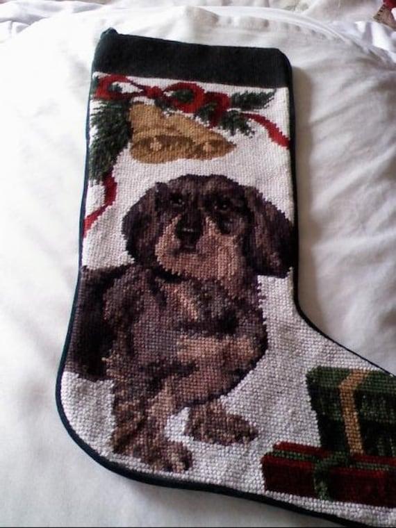Dachshund Needlepoint Christmas stocking