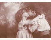 Faded Rose Vintage Image ROMANCE Honey Cute Kids Multi Options Greeted Or Blank VALENTINE Greeting Card (V6)