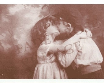 FADED ROSE VINTAGE IMAGE GREETING CARD VALENTINE ROMANCE HONEY CUTE KIDS V6