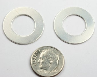 Five 7/8 inch Sterling Silver Washer Disc 22 gauge Blanks for Stamping