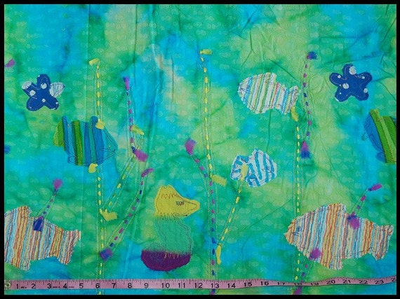Private Sale - Green Blue Appliqued Fish/Ocean/Starfish/Seahorse Batik Fabric 2.5 yards