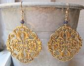 Gold chandelier earrings. Sapphire drop earrings. Gold blue jewelry. Vintage filigree. Floral filigree. DAYBREAK