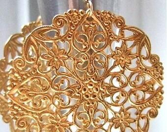 Gold chandelier earrings with vintage filigree. Big gold earrings. GOLDEN