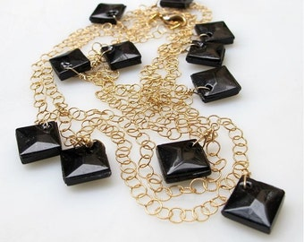 Gold chain vintage black Jet necklace. DRAWING ROOM