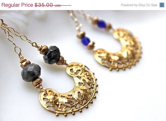 HOLIDAY SALE Vintage brass filigree swing chandelier, gold chain, cobalt blue glass, gray jasper, bridesmaid earrings, choice of color SWIN