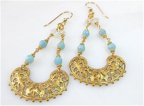 Gold chandelier filigree and blue gemstone earrings. SERENITY
