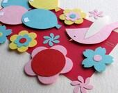 Birthday, Love card - Bird, Flowers, Balloons