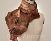Nuno felted merino wool and silk chiffon scarf.Hand dyed.